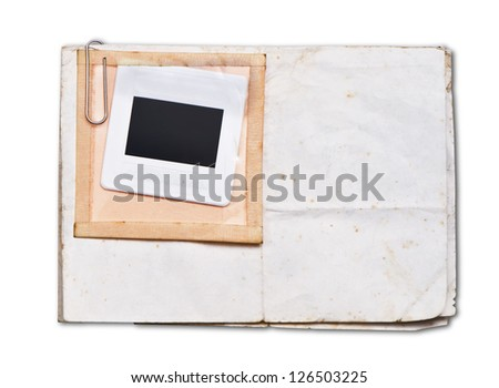 Old papers with white frame - stock photo