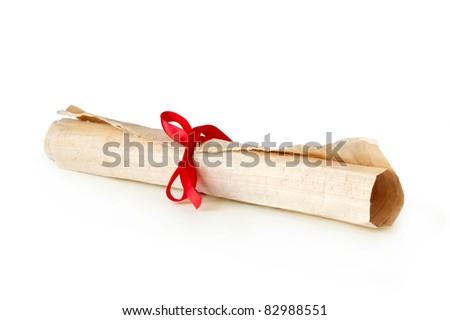 old papyrus scroll in roll with ribbon isolated on white