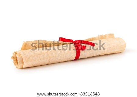old papyrus scroll in roll with ribbon isolated on white - stock photo