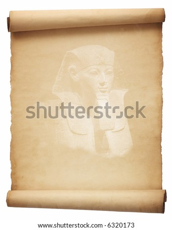 Old papyrus with face of Sphinx - stock photo