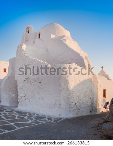 Old Paraportiani 14 century church - the most famous and popular place on the island Mikoneos in Greece - stock photo