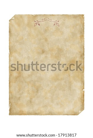 Old parchment decorated with floral ornament - stock photo