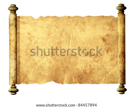 Old parchment. Isolated over white - stock photo