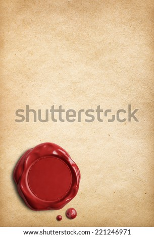 Old parchment letter with red wax seal - stock photo