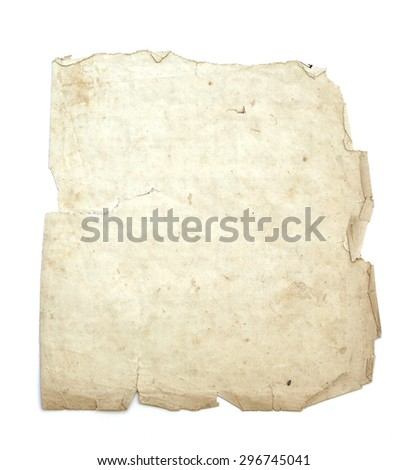 old parchment on white background. - stock photo