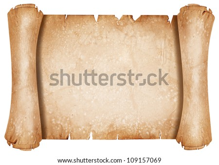 Old parchment paper scroll - stock photo