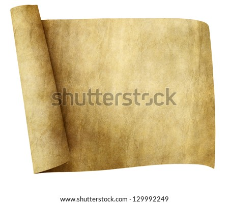 old parchment paper scroll isolated on white background - stock photo