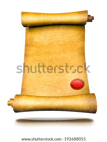 Old parchment paper scroll with red seal wax - stock photo