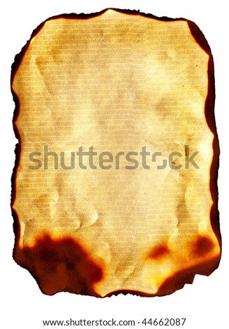 old parchment paper with burned edges
