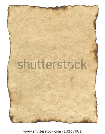 Old Parchment Paper with Burned Edges. Includes Clipping Path