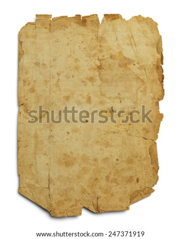 Old Parchment Paper WIth Copy Space Isolated on White Background. - stock photo