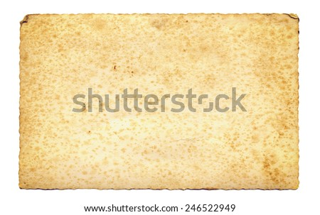 Old parchment paper with ragged edges isolated. - stock photo