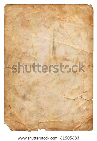 old parchment paper with shabby edges isolated