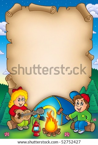 Old parchment with camping kids - color illustration. - stock photo