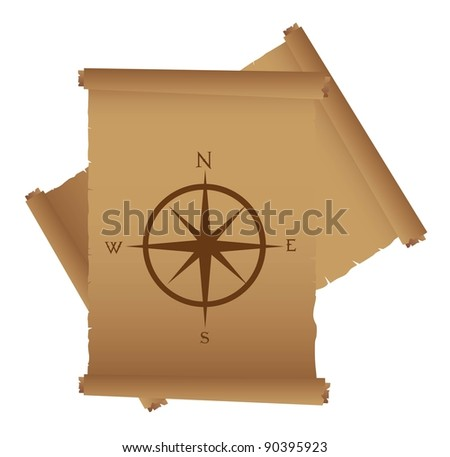 old parchment with compass rose vector. illustration