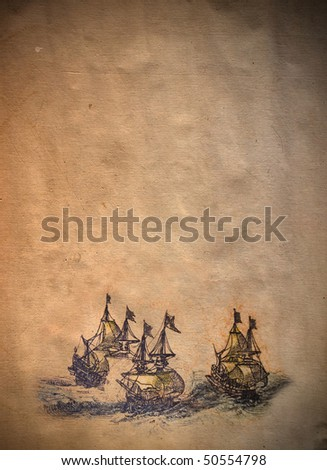 old parchment with copyspace and ships - stock photo