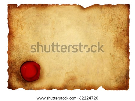 Old parchment with wax seal. Isolated over white