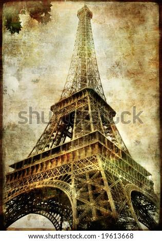 old Paris -vintage series - Eiffel tower - stock photo