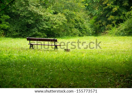 old park and bench - stock photo