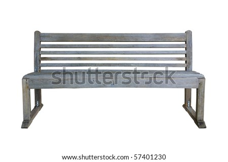 Old park bench isolated on white - stock photo