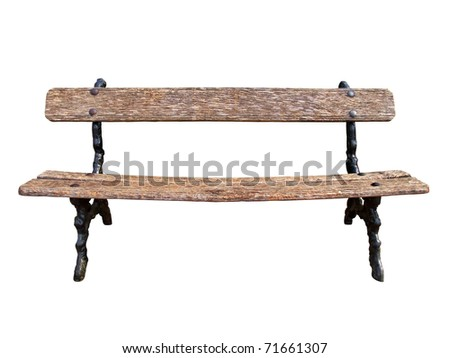 Old park bench isolated on white background with clipping path - stock photo