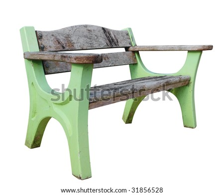 Old Park Bench isolated with clipping path. - stock photo
