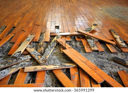 Old Parquet Restoration - stock photo