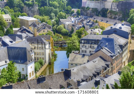 Old Part of Luxembourg City, Grand Duchy of Luxembourg. The historic city center of Luxembourg City is UNESCO World Heritage Site - stock photo