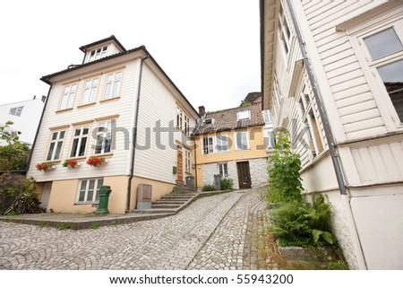 Old part of norwegian city Bergen - Bryggen - stock photo