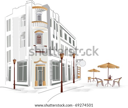 Old part of the city with cafe - stock photo