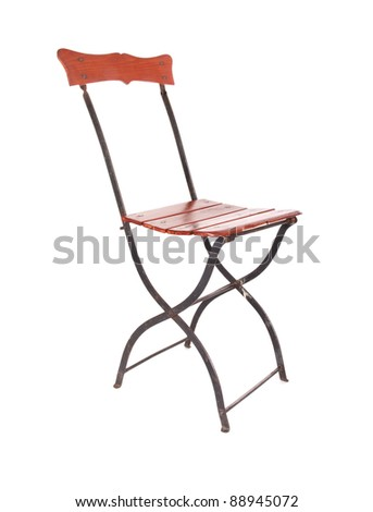 Old Patio Chair, isolated on white - stock photo