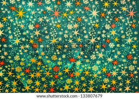 Old pattern with paper texture. christmas, stars. snow flakes. Abstract background. Vintage pattern. Retro pattern - stock photo
