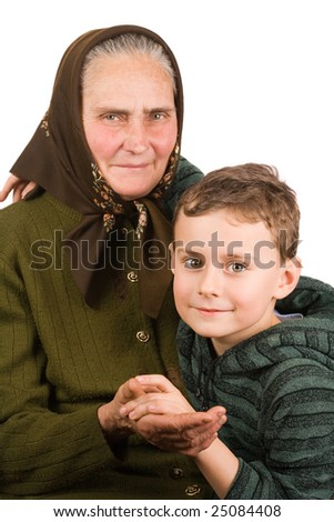 Old peasant woman embracing her nephew, isolated on white background - stock photo