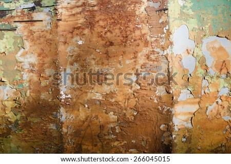 Old Peeling Paint on Metal Grunge Background. - stock photo
