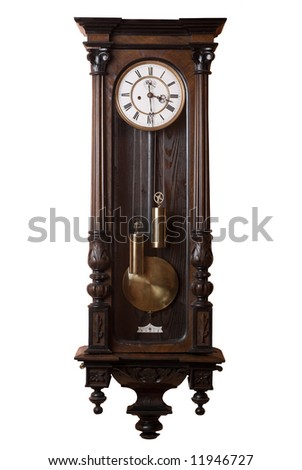 Old Pendulum Wall Clock Isolated On White.