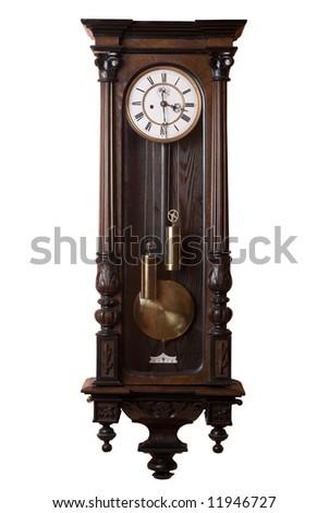 Old pendulum wall clock isolated on white. - stock photo