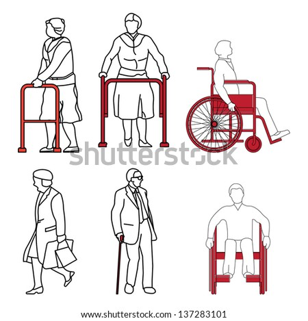 old people and disabled persons - stock photo