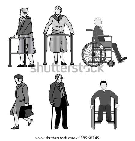 old people and disabled persons. Isolated on white