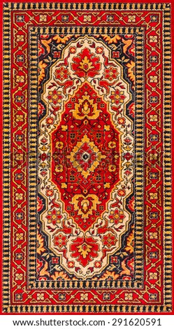 Old Persian carpet with pattern. top view - stock photo
