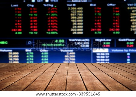 old perspective wooden floor on blur stock market number background - stock photo