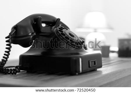 Old phone - B&W image - stock photo
