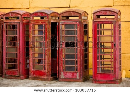 Old Phone Booths - stock photo