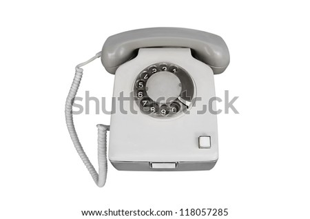 Old phone isolate on white background - stock photo