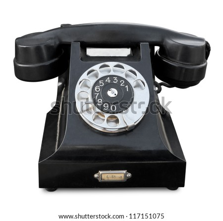 Old phone isolated. Clipping path included. - stock photo