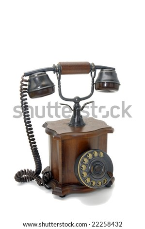 Old phone isolated in white - stock photo