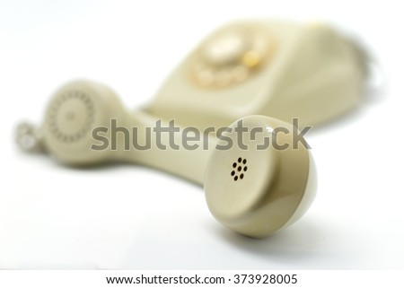 old phone isolated in white background - stock photo
