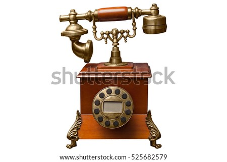 old phone isolated on white background