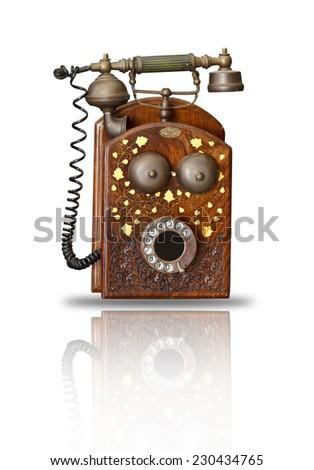 old phone on white - stock photo