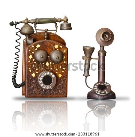 old phone on white - stock photo