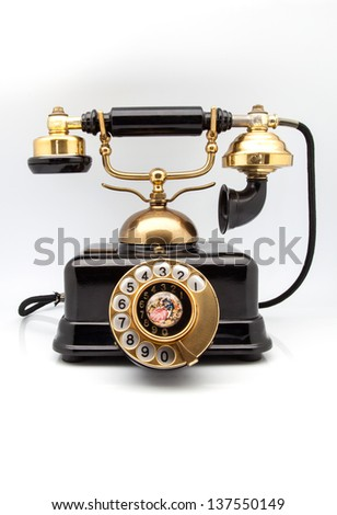 old phone on white fund - stock photo